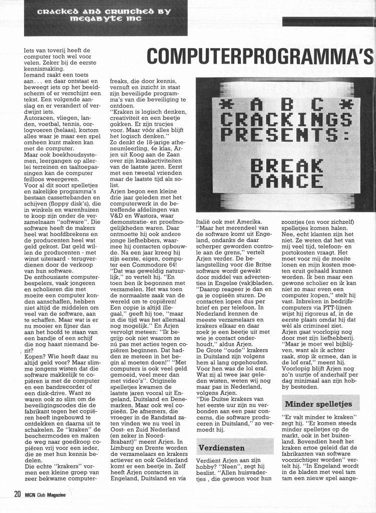 Kraken en kopieren van computerspellen - Artikel uit MCN Magazine, december 1985, pagina 20